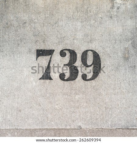 house number seven hundred and thirty nine - stock photo
