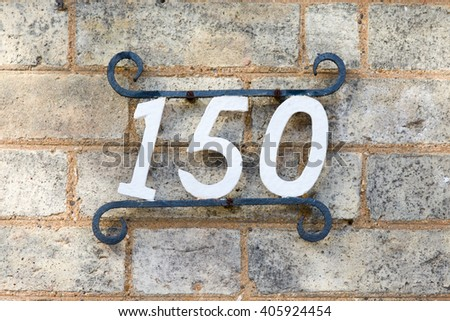 House Number 150 sign