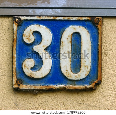 house number thirty - stock photo