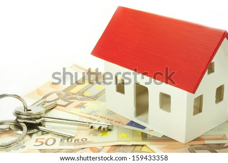 house of euro banknotes with keys - stock photo