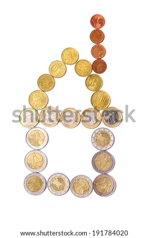House of euro coins on a white background