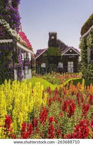 House of greenery and flowers in the park Dubai Miracle Garden - stock photo
