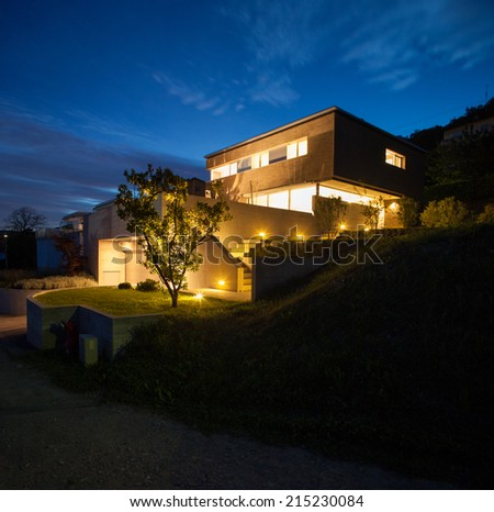 House of modern design, night view