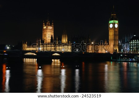 House of parliament and Big Ben at night - stock photo