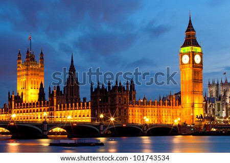 House of Parliament and Big Ben River Thames Landmark of London England United Kingdom at Dusk - stock photo