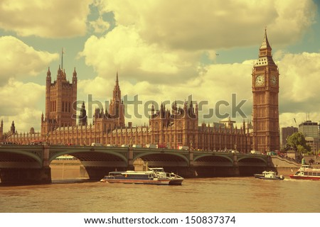 House of Parliament  in London, UK view from Themes river. Toned image - stock photo