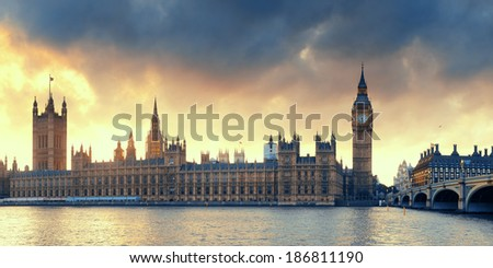 House of Parliament sunset panorama in Westminster in London. - stock photo