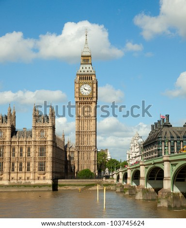 House of Parliament with Big Ben tower in London UK - stock photo