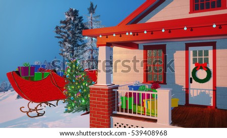 House of Santa Claus decorated for Christmas with colorful gift boxes on its porch and Santas sleigh in the distance at winter evening or morning. Decorative 3D illustration.