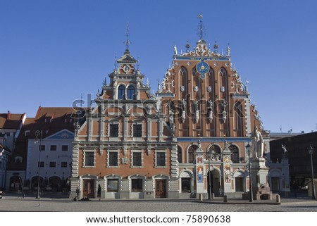 House of the blackheads in riga, located in the old town of Riga. Reconstrued in year 1999.
