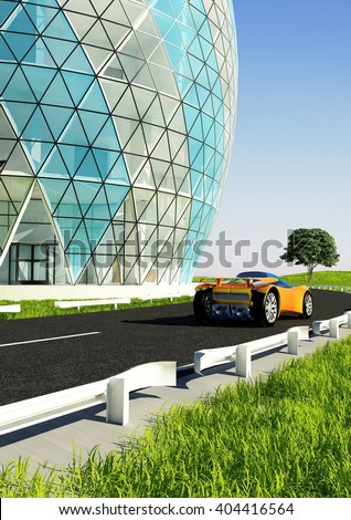 House of the Future and cars on the grass.3d render - stock photo