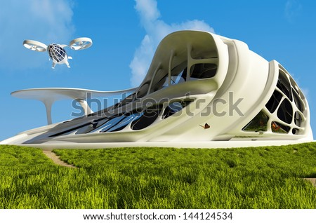 House of the Future  on the grass. - stock photo