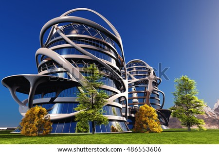 Awesome House Of The Future On The Grass.3d Render