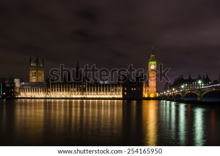 House of the parliament / Palace of Westminster Building complex in London, England - stock photo