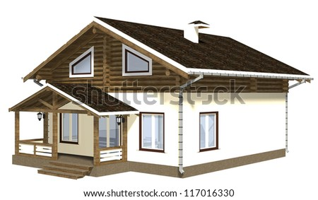 House of wooden timber. 3d model render. Isolation on white background. - stock photo