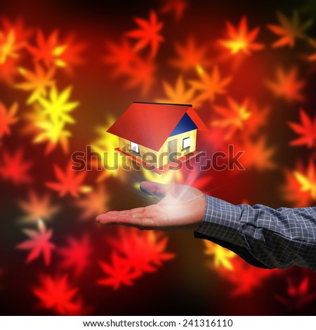 House on a hand of  businessman - stock photo