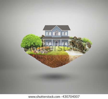 house on a piece of earth with garden
