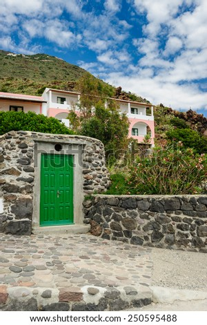 House on Alicudi island, Aeolian Islands, Sicily, Italy. - stock photo