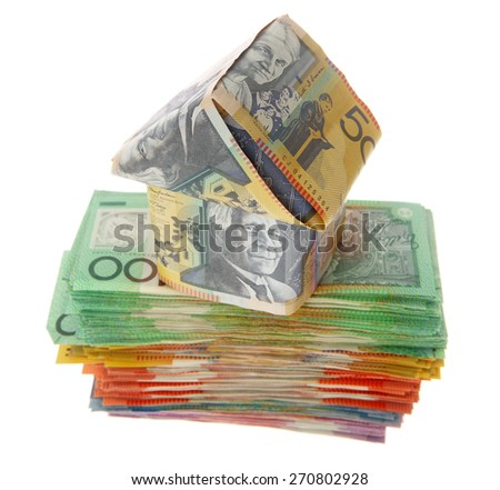 House on Australian Money - Aussie currency - stock photo