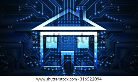 house on chip - stock photo