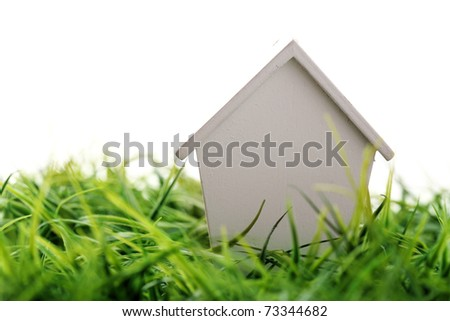 house on grass - stock photo