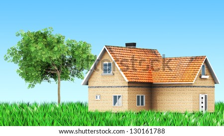 house on grass with tree for use in presentations, manuals, design, etc. - stock photo
