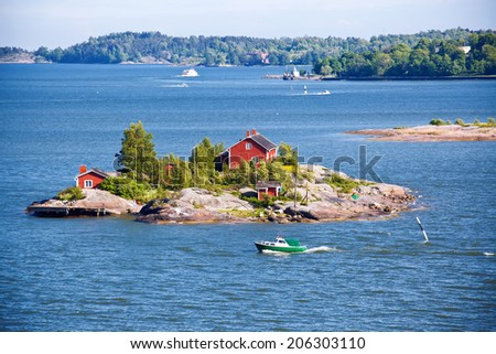 House on island in Baltic sea, Helsinki, Finland - stock photo
