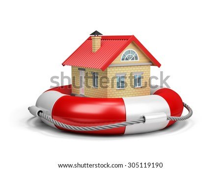 House on lifebuoy, the concept of property insurance. 3d image. White background.