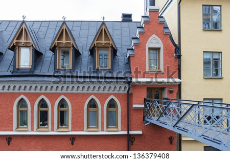 House on Mariaberget. Beautiful old part of Stockholm. - stock photo