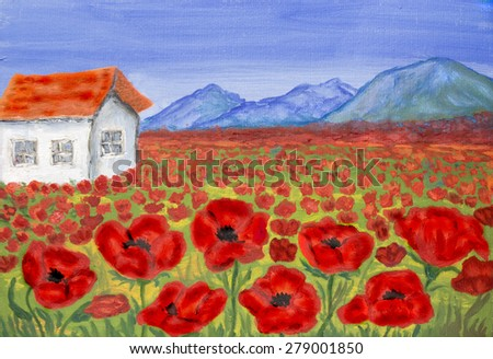 House on meadow with red poppies, oil painting. - stock photo