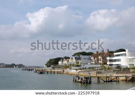 House on Millionaires row, Sandbanks, Dorset - stock photo