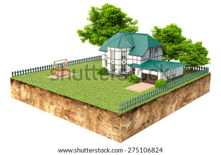 house on piece of earth with garden and trees - stock photo