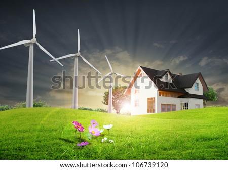 House on the a prairie - stock photo
