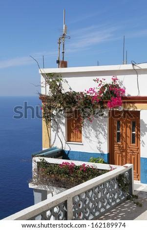 house on the cliff in Olympos, Karpathos - stock photo