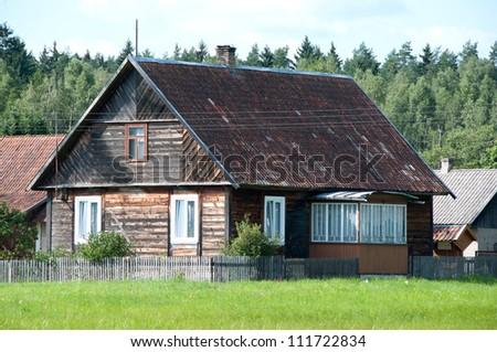 house on the east Polish - stock photo