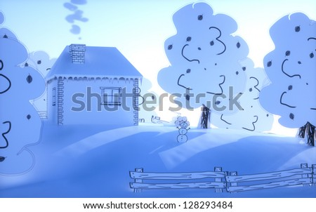 house on the hill, winter morning and snow man - stock photo