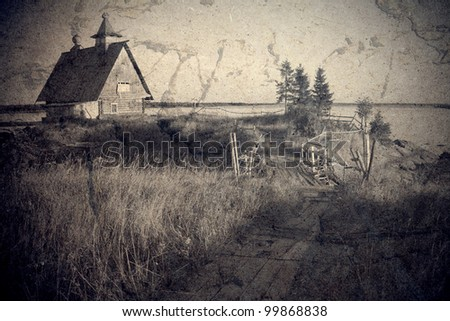 house on the lake - stock photo