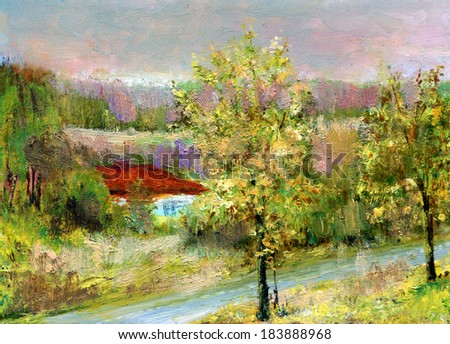 house on the river- Solar day, house on a coast of the river. Painting. A canvas, oil. My own artwork. - stock photo