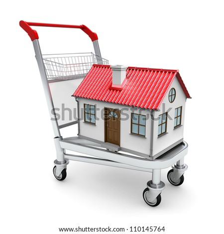 House on the trolley. Isolated on white background - stock photo