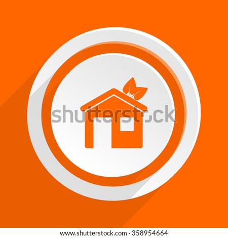 house orange flat design modern icon for web and mobile app - stock photo