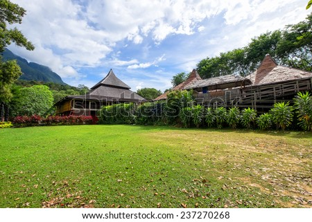 House Over Blue Sky at Sarawak Cultural Village - stock photo