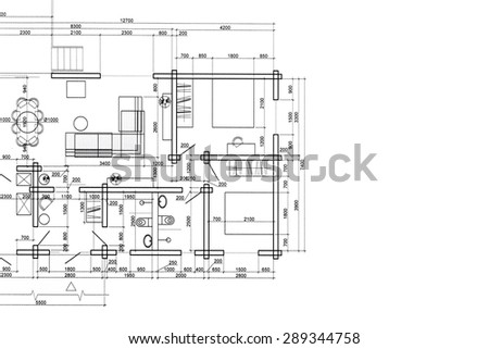 house plan blueprint, architectural drawing, part of architectural project - stock photo