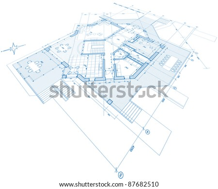 House plan - blueprint. Bitmap copy my vector ID 17456767 - stock photo