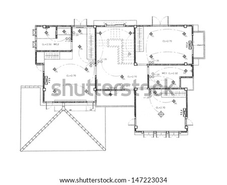 House plan - Ceiling and Lighting plan - stock photo