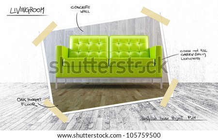 House plan for restyle the interior design - stock photo