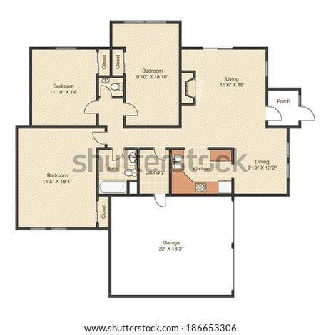 House Plan Measurements Cad Project Stock Illustration