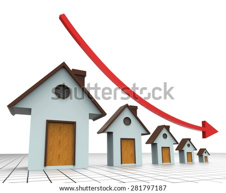 House Prices Decreasing Indicating Real Estate Agent And Prime Real Estate