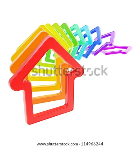 House prices falling down: queue line of rainbow colored house emblems falling down as domino effect isolated on white background - stock photo