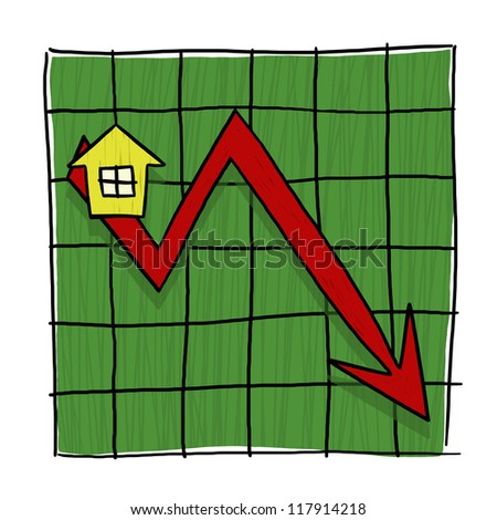House Prices Going Down Illustrated Graph; Home Prices Graph; Real estate prices going down - stock photo