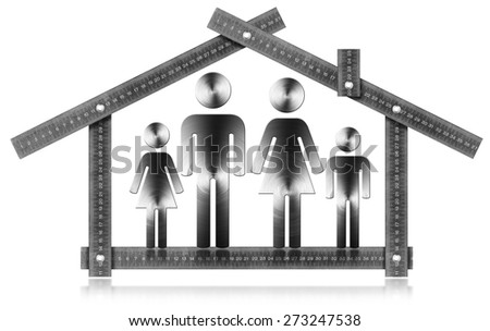 House Project - Metal Meter with Family. Metal meter ruler in the shape of house isolated on white background with symbol of a family. House project concept. - stock photo